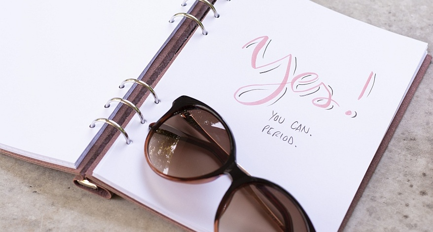 Contentplanung, Contentplaner, Blog, Instagram, Facebook, Kalender, Clipbook, Filofax, Lettering, Yes! You can. Period. Sonnenbrille